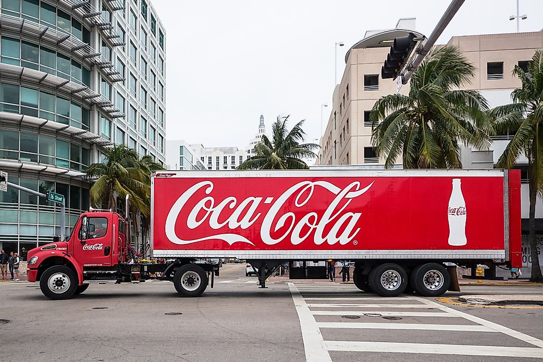 A Coca-Cola truck pulling through Miami. Editorial credit: pio3 / Shutterstock.com.