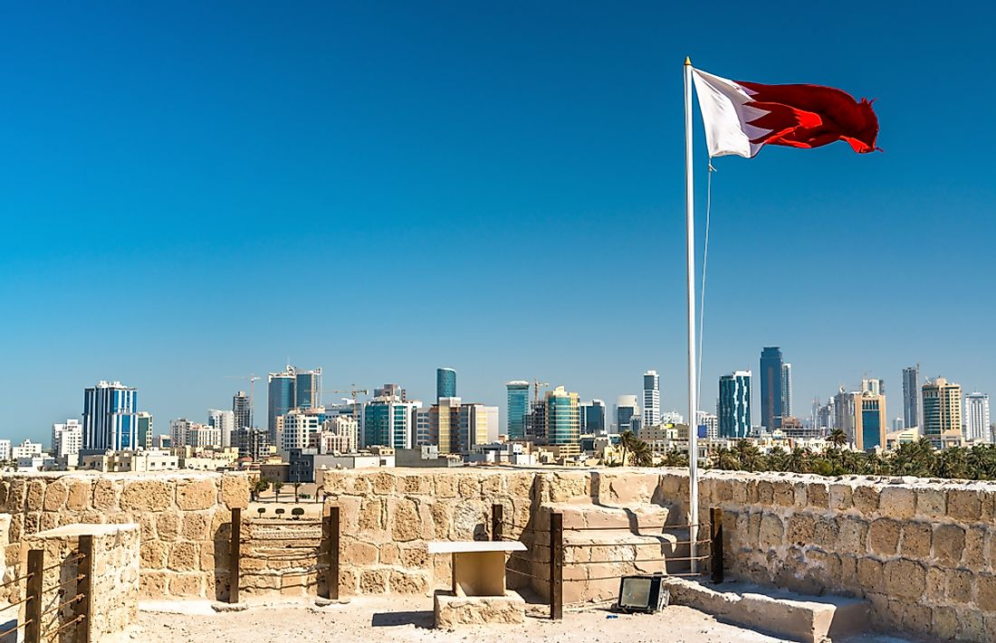 Fort Bahrain with Manama in the background.
