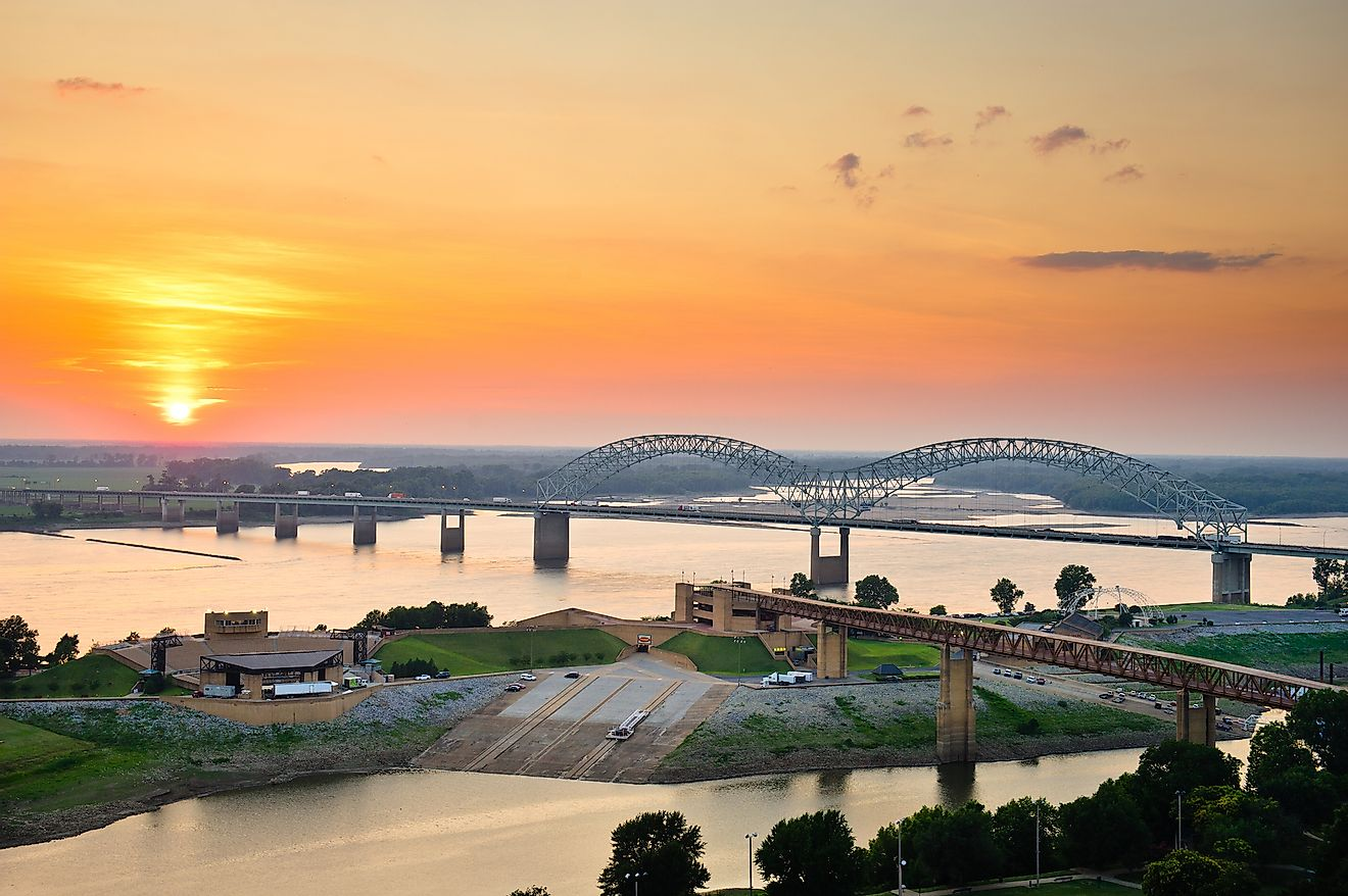 Sunset over the Mississippi River