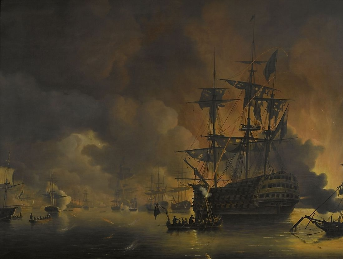 "A dutch painting of the Barbary Wars, called the ""Fire on the Wharves of Algiers""."