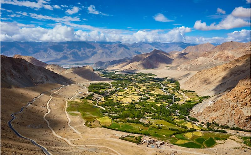 View of green Indus valley and Leh city from ascend to Kardung La pass.