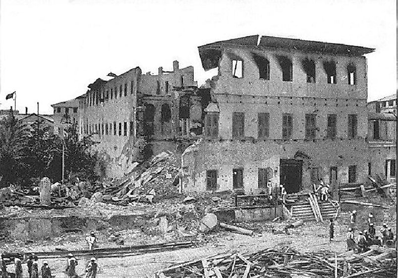 Decimated palace of Zanzibari Sultan Khalid bin Bargash following the ~38-minute long British-Zanzibar War on August 27th, 1896.