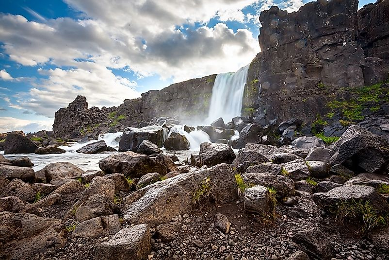 Oxararfoss Waterfall in Iceland's Thingvellir National Park.