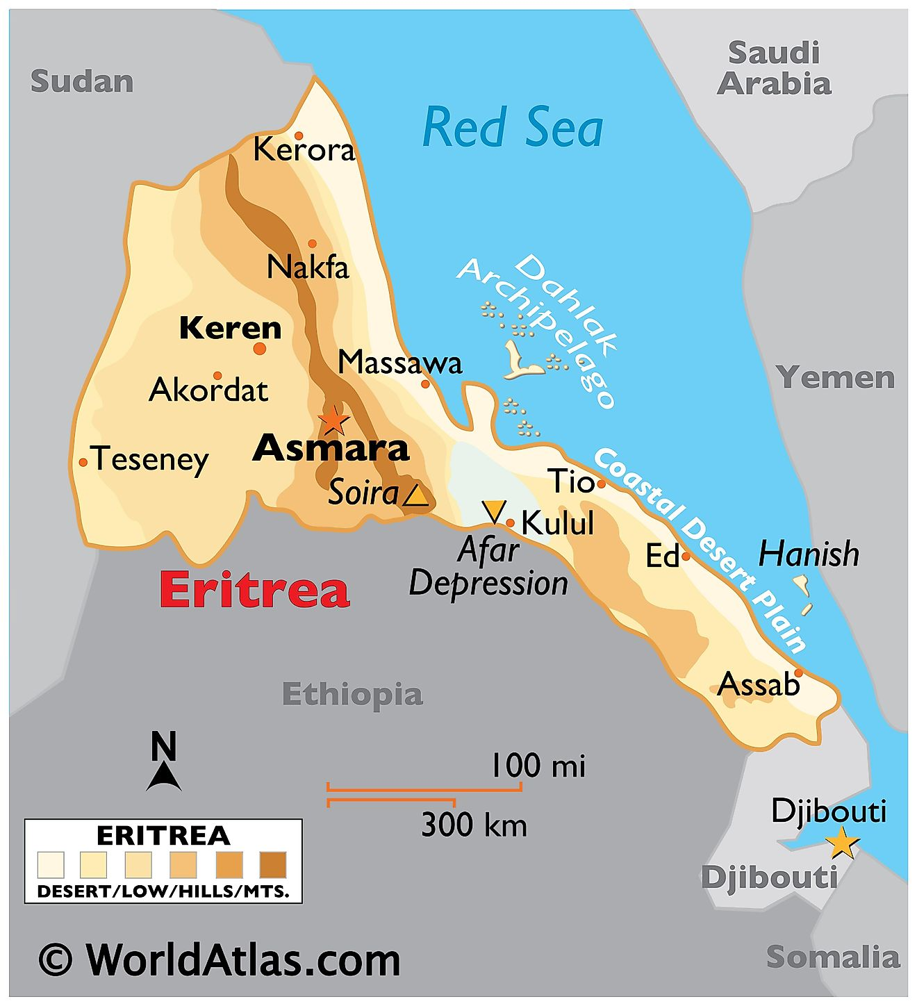 Physical Map of Eritrea with state boundaries, relief, extreme points, offshore islands, and important cities.
