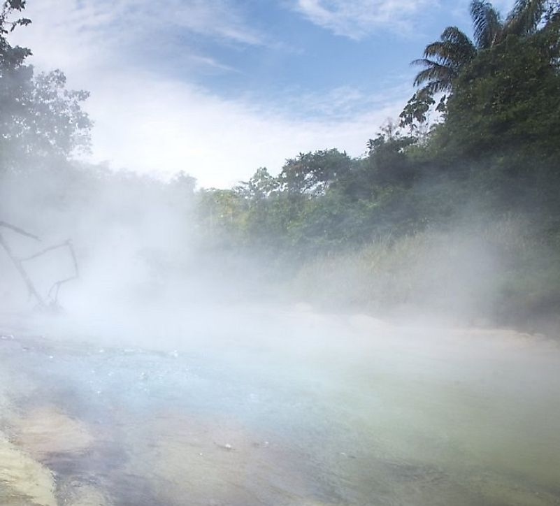 Steam rises from the infamously hot river in the Amazonian jungles of Peru.