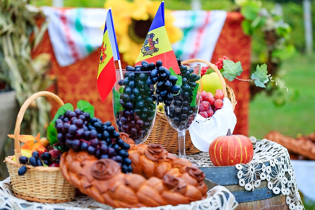 Local Moldovan wine is a popular beverage in the country.