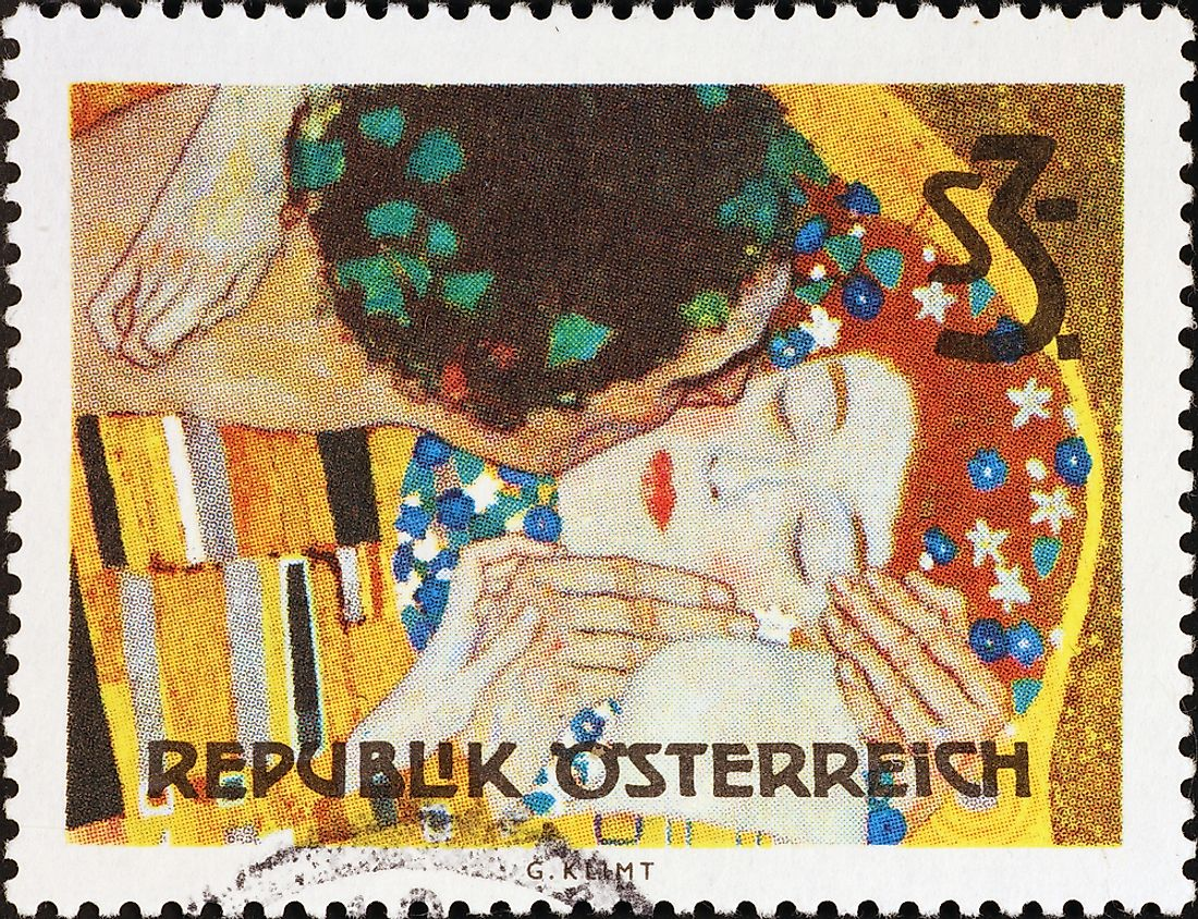 "Editorial credit: spatuletail / Shutterstock.com. A stamp commemorating ""The Kiss"", circa 2017, Austria."
