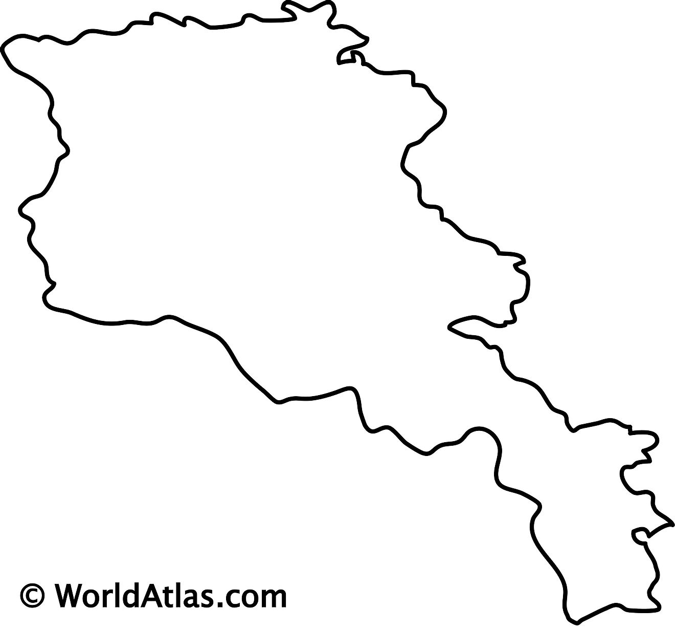 Blank Outline Map of Armenia