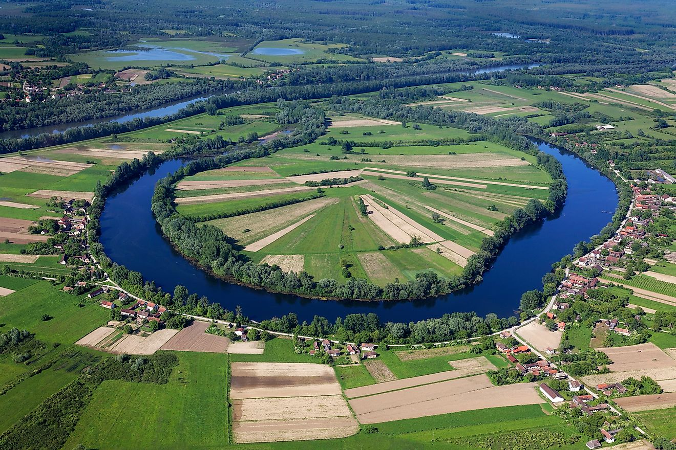 Oxbow lake with the village near the Sava River, Croatia.