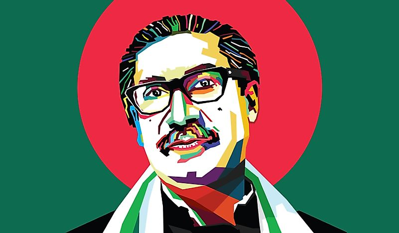 Sheikh Mujibur Rahman, the first president of Bangladesh. Editorial credit: Aam360 / Shutterstock.com.