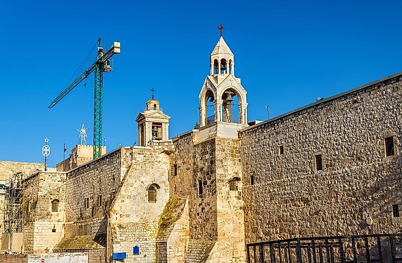 Exterior of the Church of the Nativity in Bethlehem, Palestine.