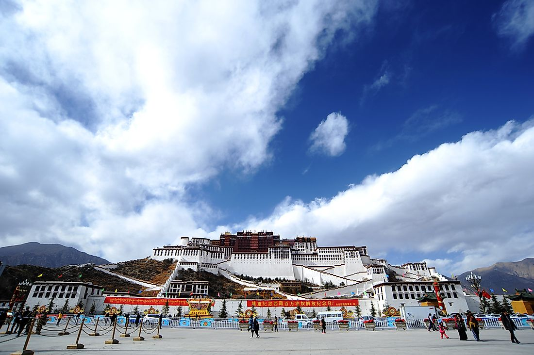 Potala Palace decorated for Serfs Emancipation Day in Lhasa, Tibet Autonomous Region, China. Editorial credit: honeyedG / Shutterstock.com