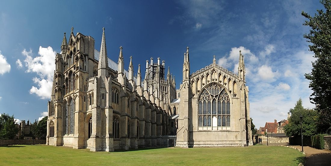 Ely Cathedral blends Romanesque and Gothic styles.