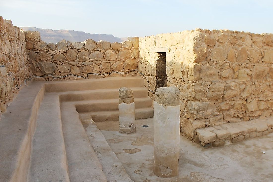 The synagogue of Masada, Israel. Judaism is the most practiced religion in Israel.