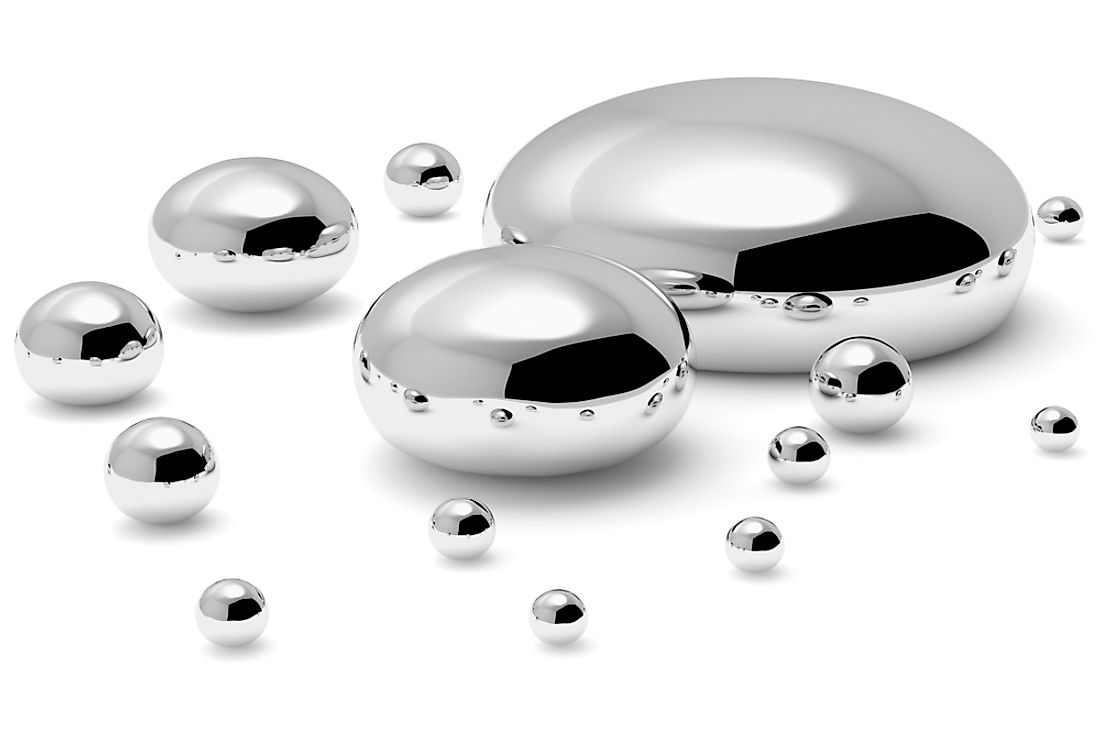 Drops of mercury.