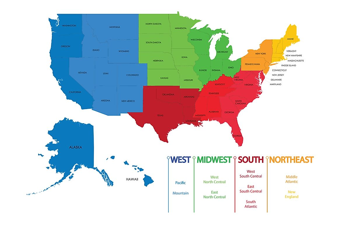 The United States is divided into four regions, subdivided into nine divisions.