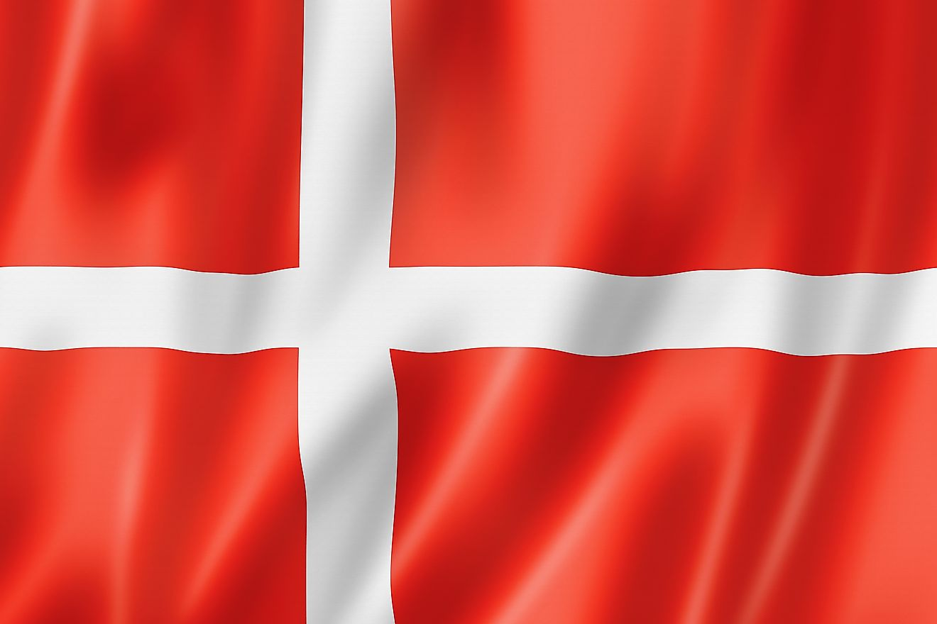 The official flag of the Kingdom of Denmark.