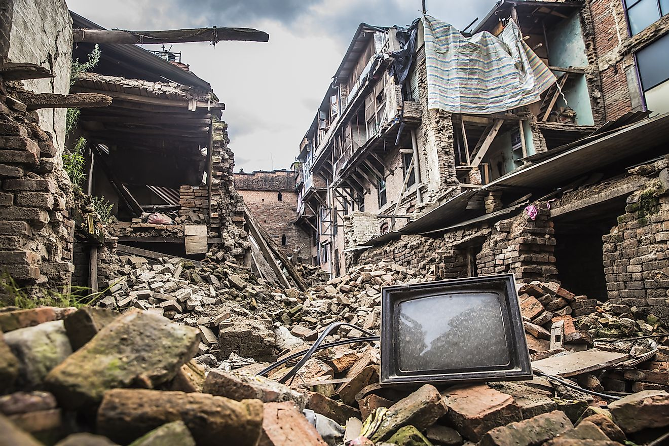 Rubble of collapsed building post earthquake of Nepal, 2015. Image credit: Binaya Mangrati/Shutterstock.com