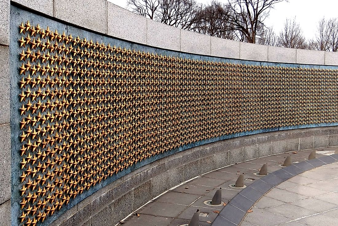 A portion of the WWII Memorial in Washington, DC.