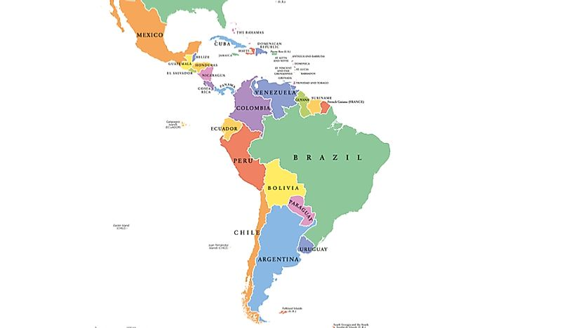 Geopolitical map of Latin America.