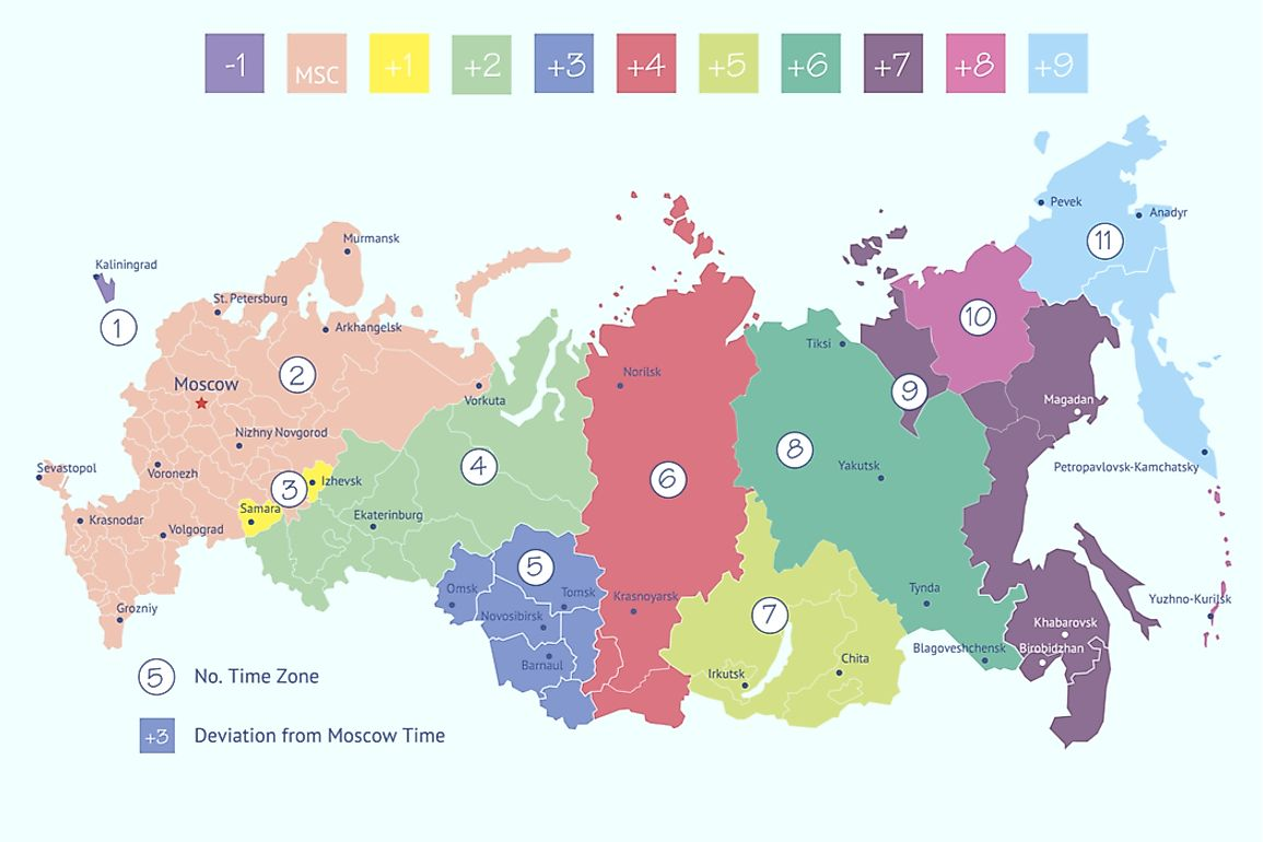 There are 11 time zones across Russia.