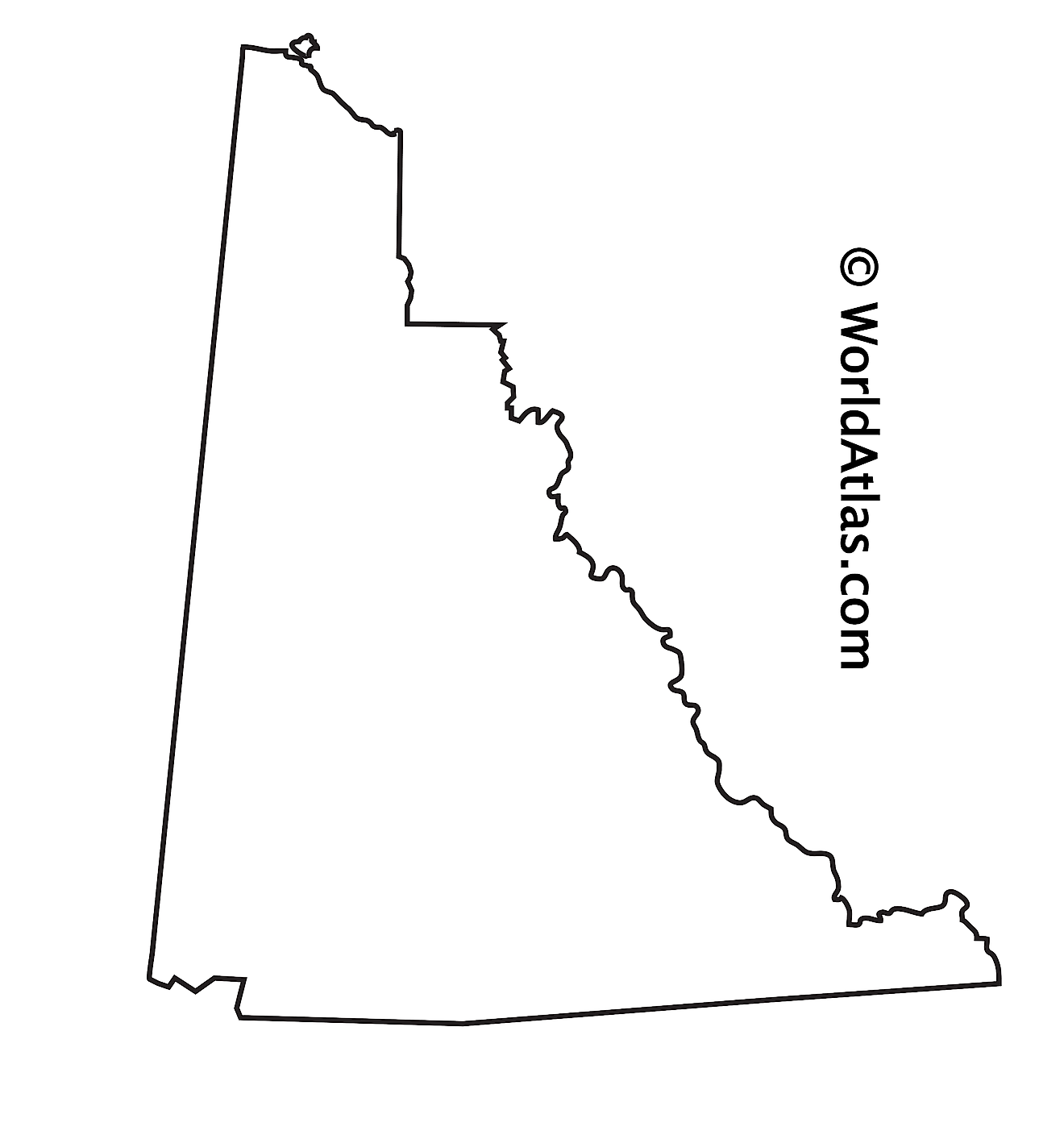 Blank Outline Map of Yukon