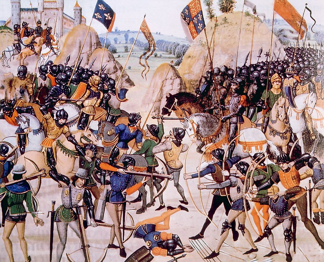 The Battle of Crecy during the Hundred Years' War.