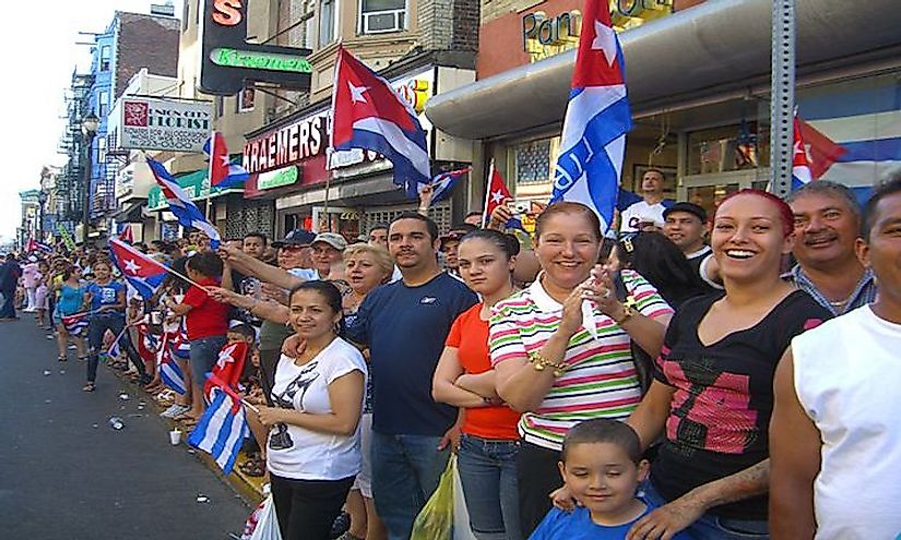 Cubans participating in the 2010 Cuban Day Parade.