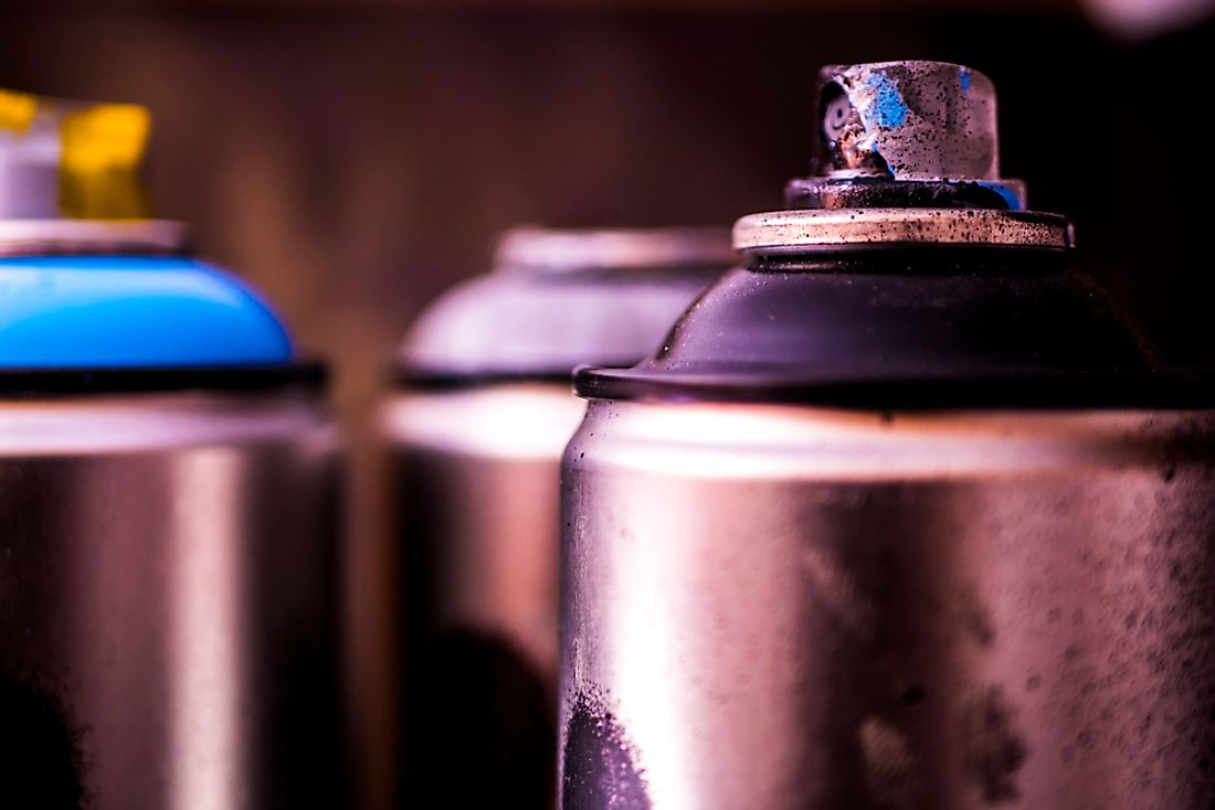 Chlorofluorocarbons are used in the manufacturing of aerosol cans.