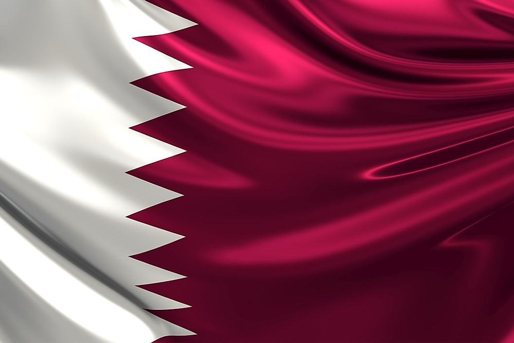 The flag of Qatar.