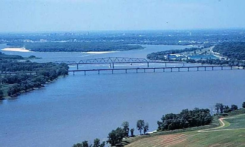 The Mississippi River, the primary river of North America's largest river system at the Chain of Rocks.