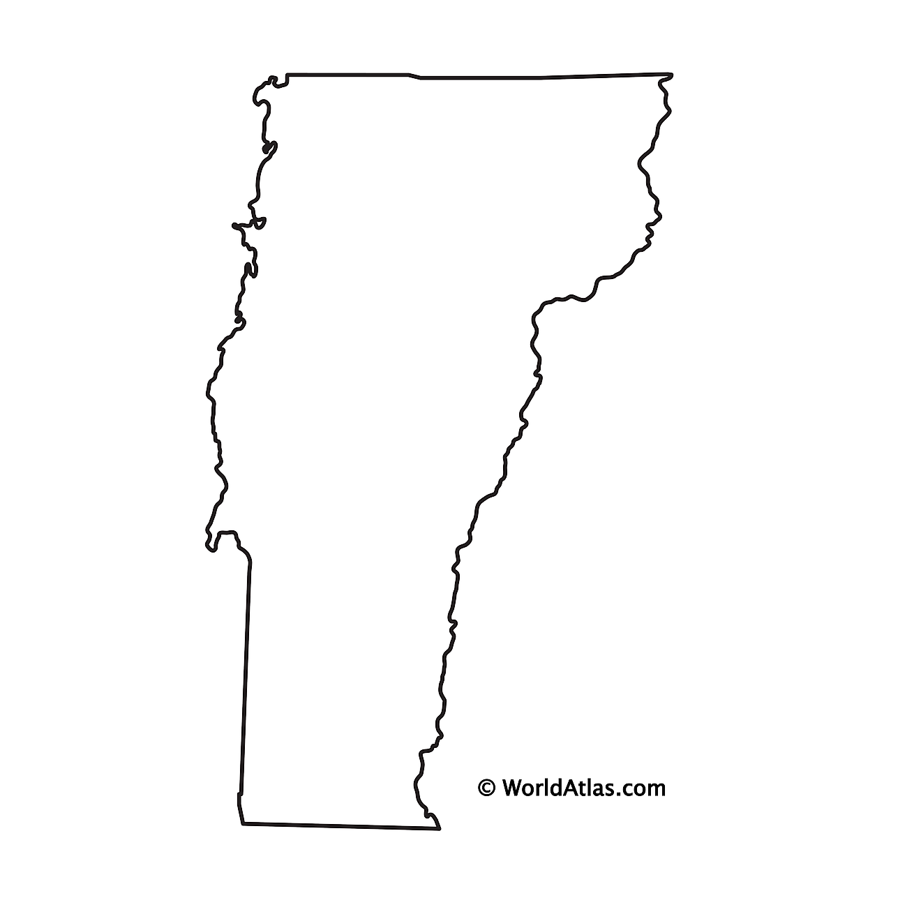 Blank Outline Map of Vermont