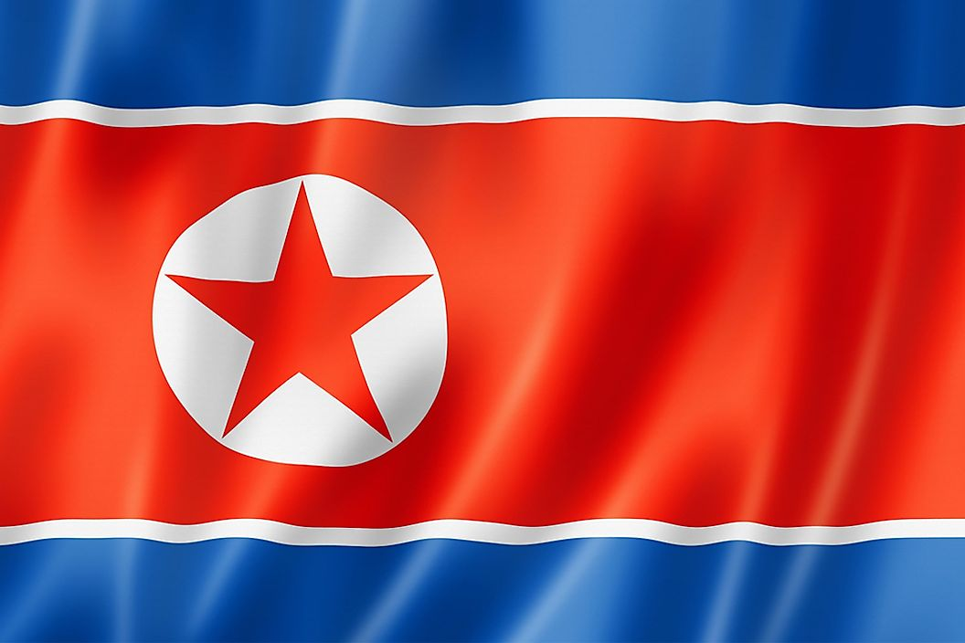 The flag of North Korea.