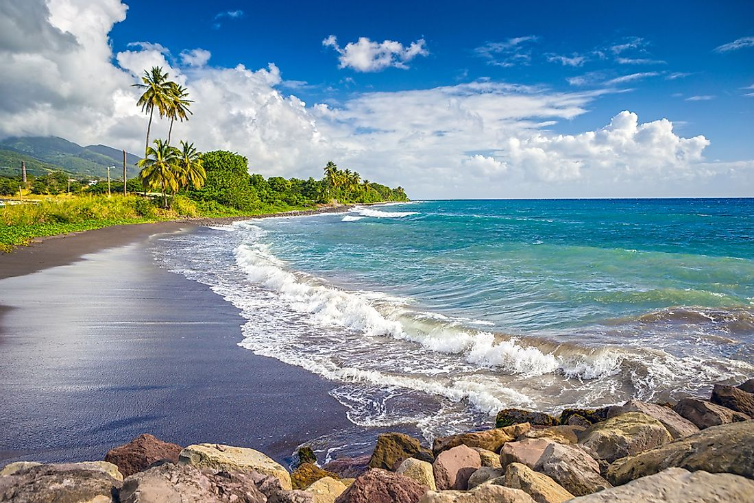 A black sand beach in Saint Kitts.