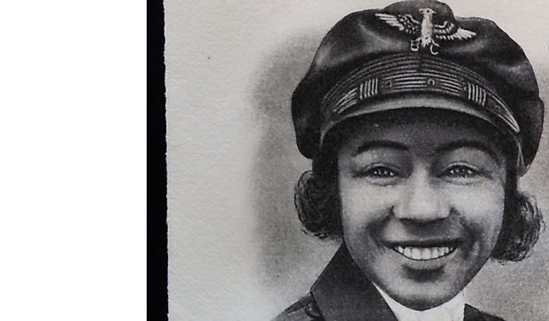 A stamp showing a portrait of Bessie Coleman. Editorial credit: neftali / Shutterstock.com.