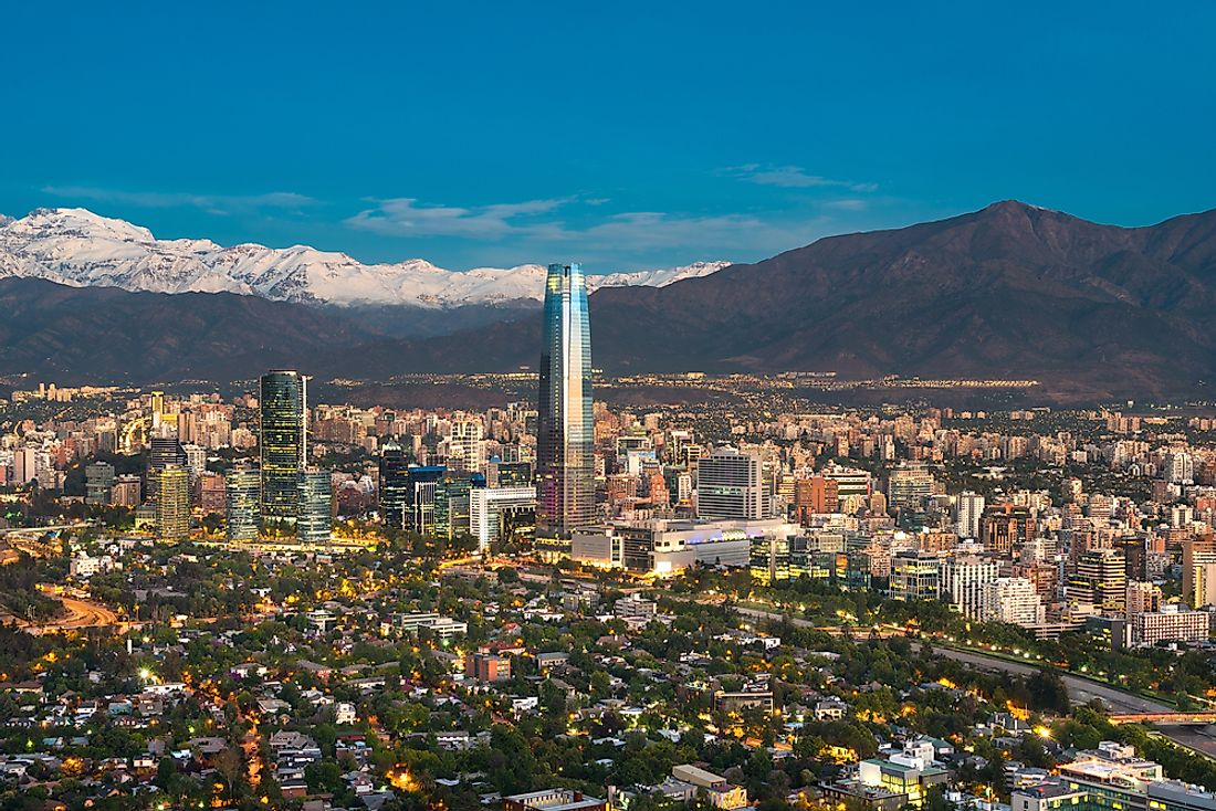 The Andes Mountains form a backdrop for the Santiago city skyline.