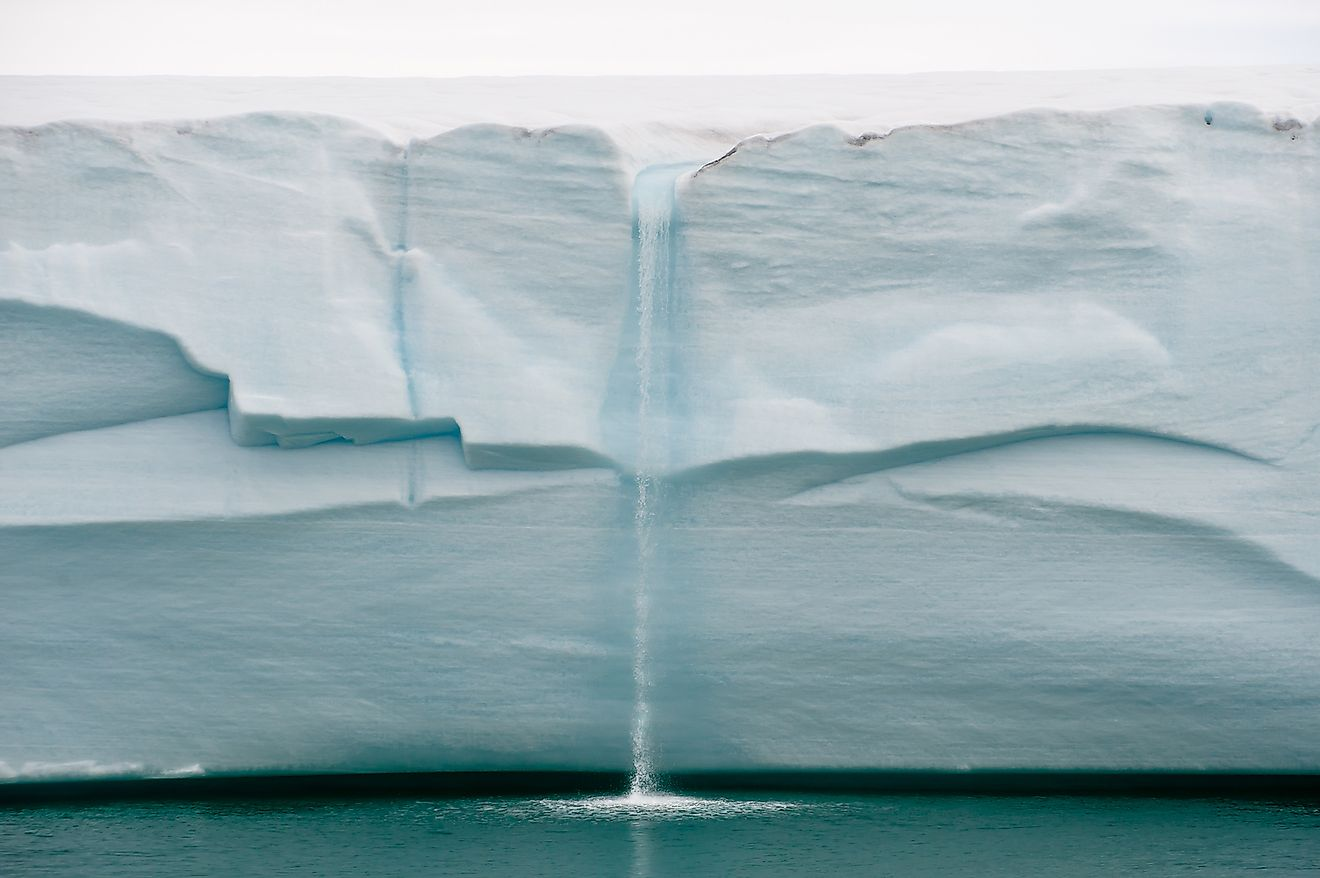 Melting ice forms waterfall falling into sea over edge of glacier wall due to global warming in Northern Arctic. Image credit: Tony Skerl/Shutterstock.com