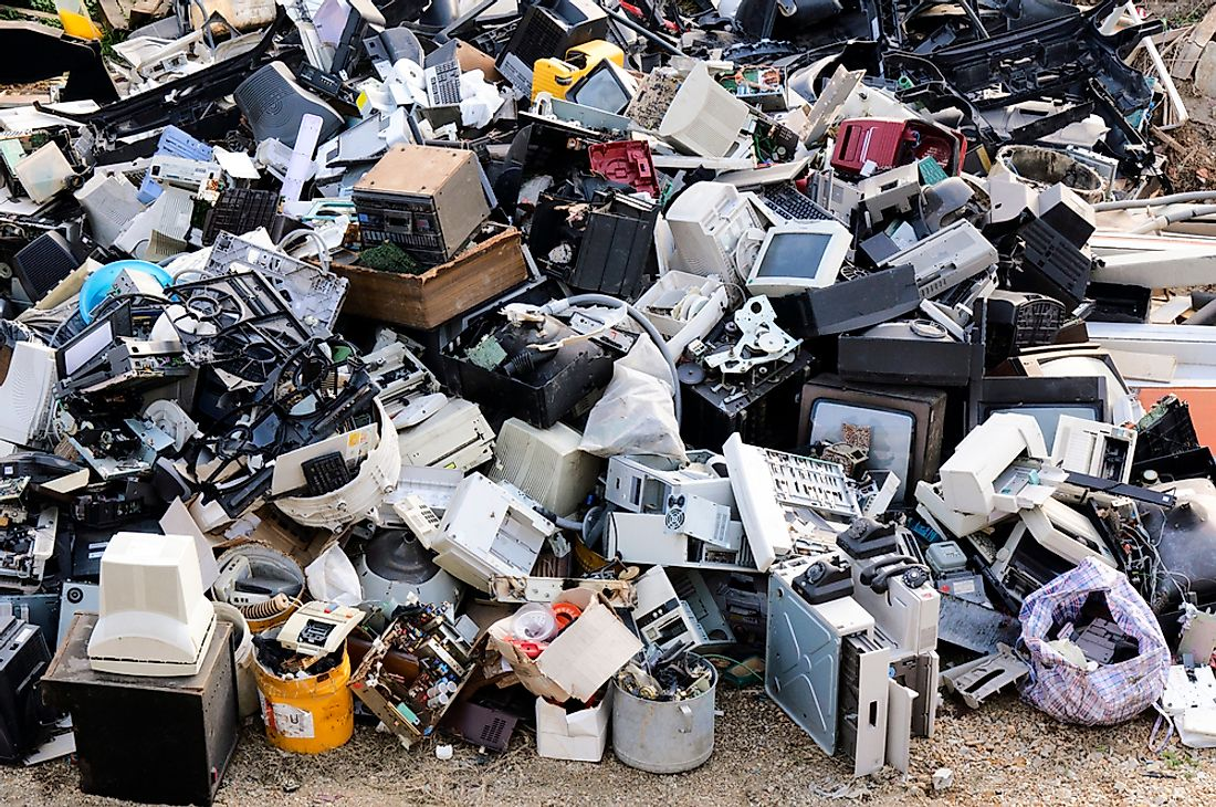 Electronic waste waiting to be recycled.
