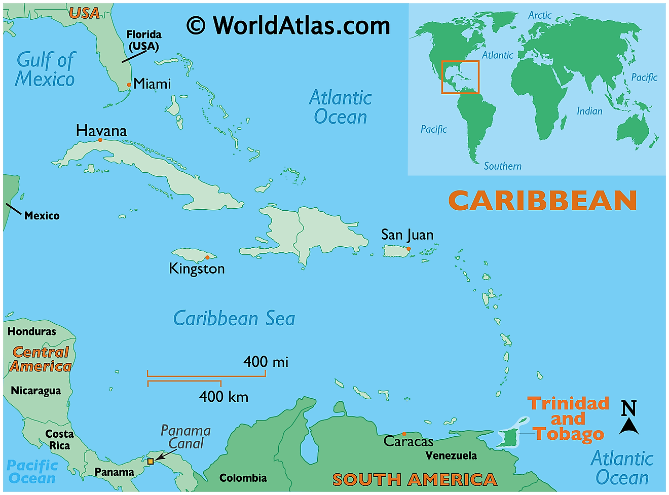 Map showing location of Trinidad and Tobago in the world.