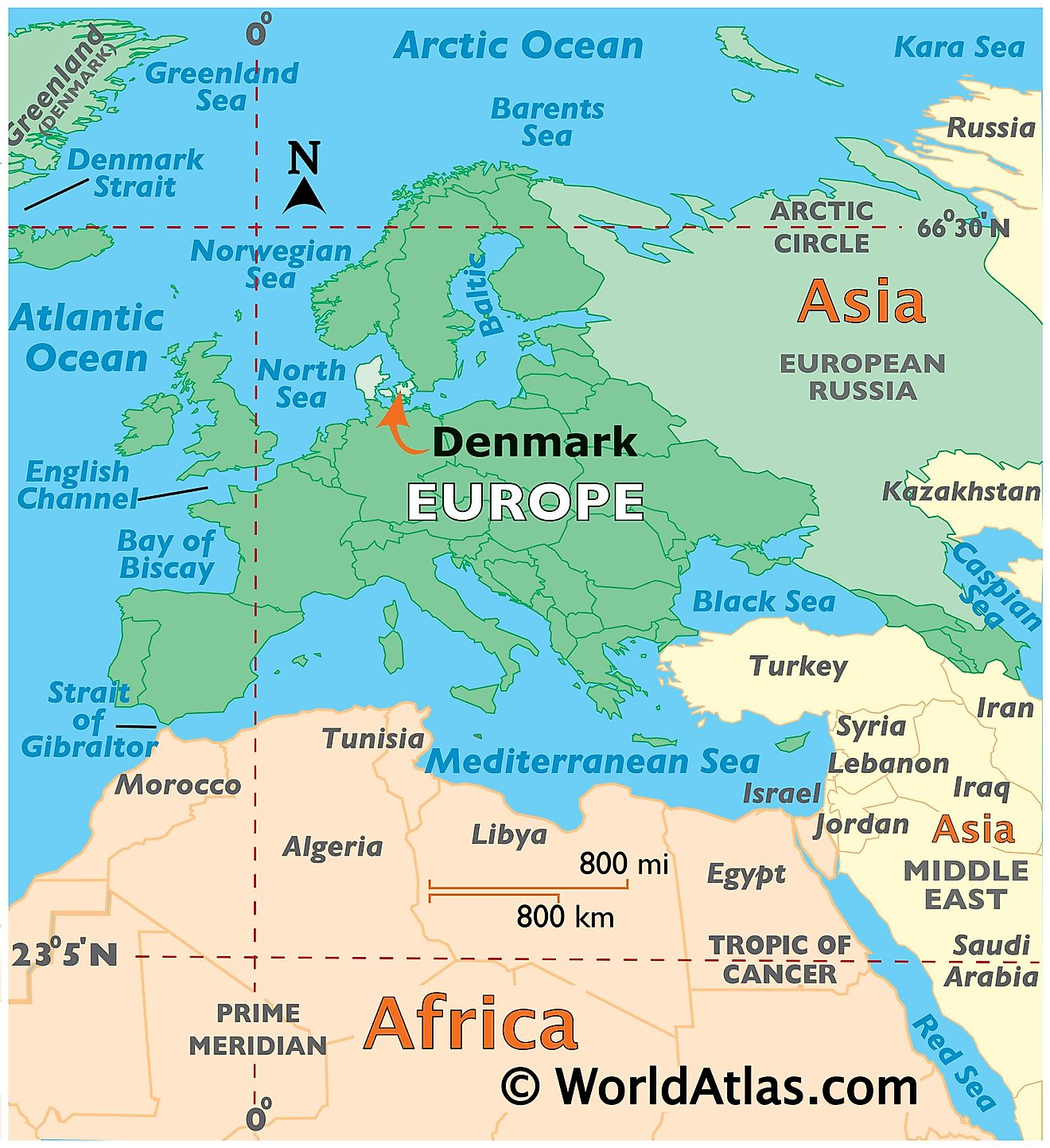 Map showing location of Denmark in the world.