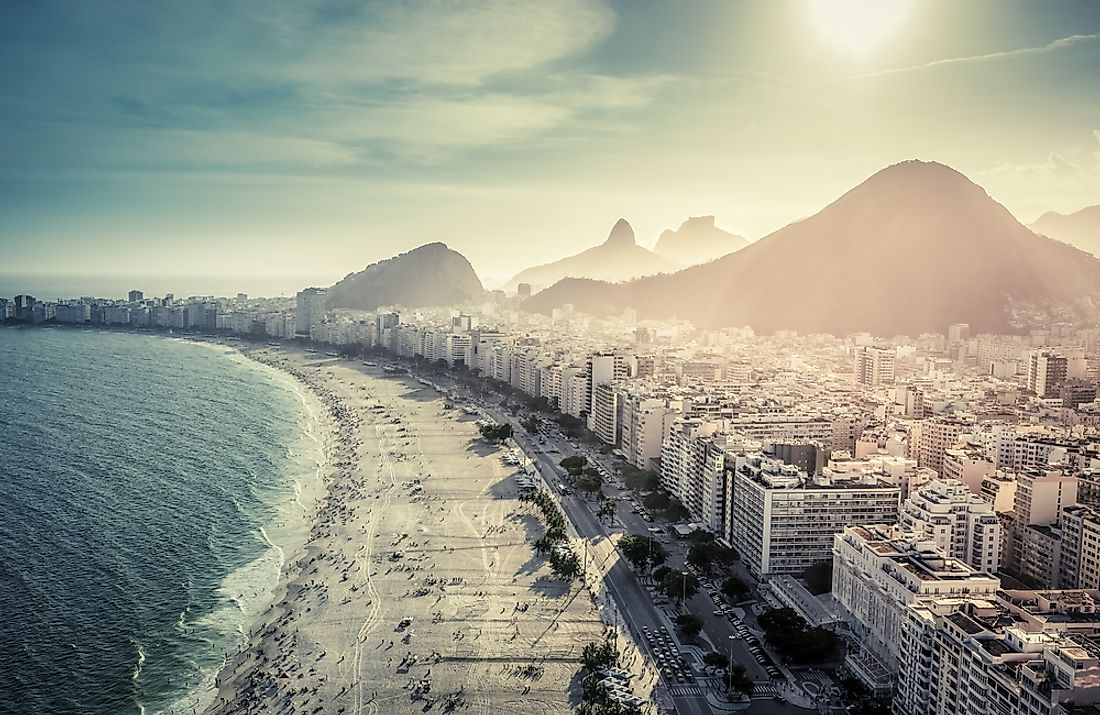 The Brazilian coast is known for its beaches, such as the famous Copacabana Beach in Rio de Janeiro, Brazil.