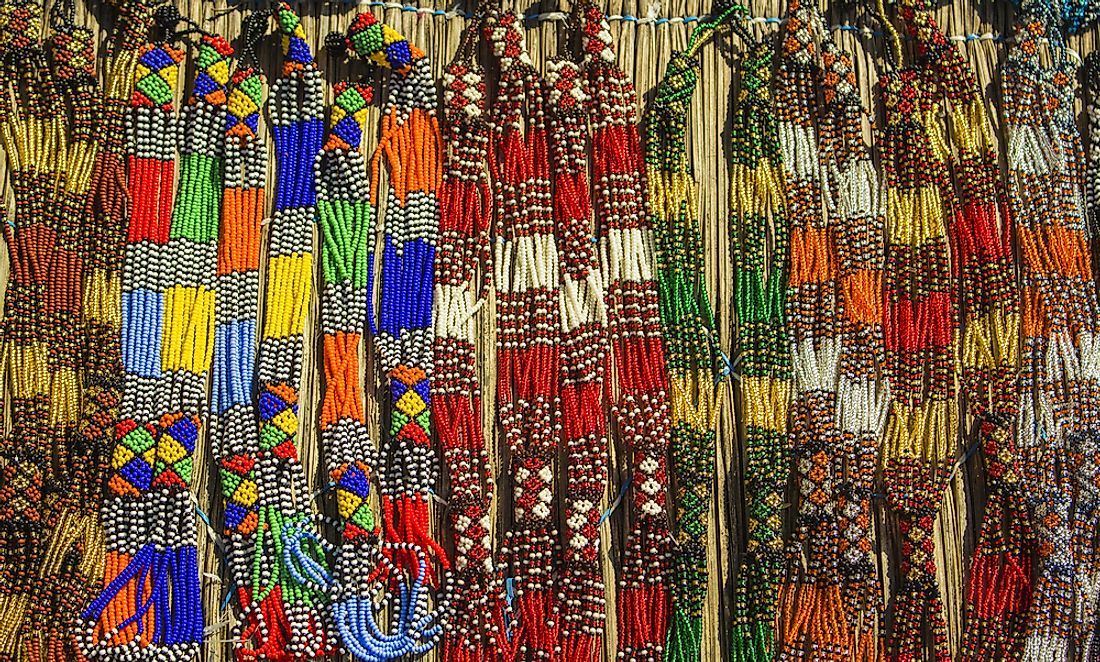 Colorful beads for sale at a market in Zambia.