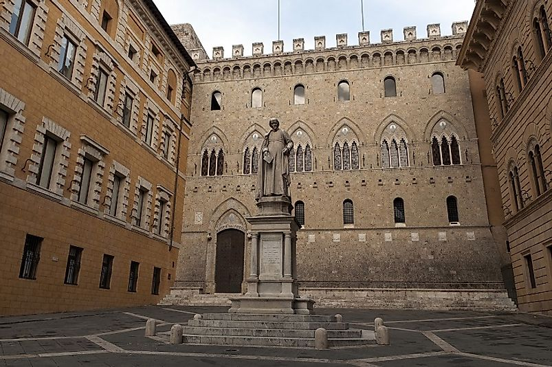 Courtyard outside of the Banca Monte dei Paschi di Siena in Italy, the oldest operational bank still standing.