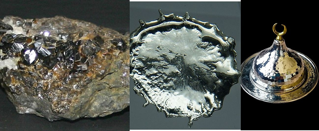 Progressive stages of tin processing: Cassiterite Tin Ore (left), pure molten tin (center), and a shaped pewter product made from tin (right).
