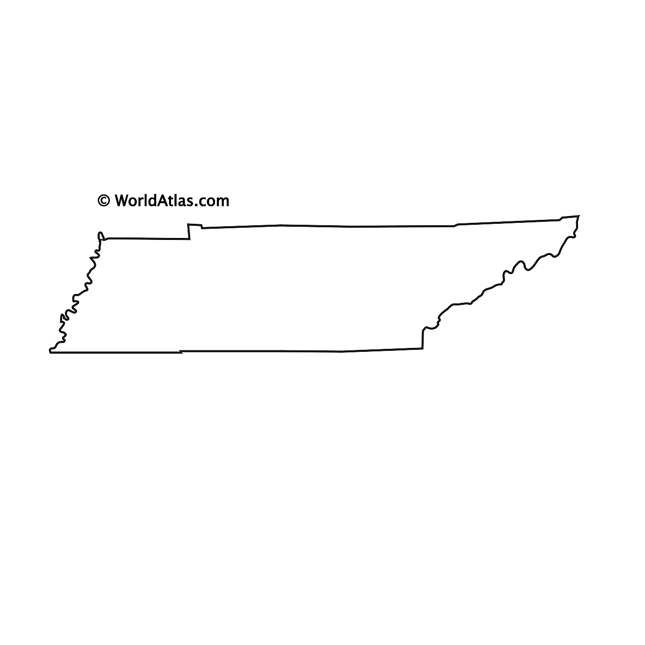 Blank Outline Map of Tennessee