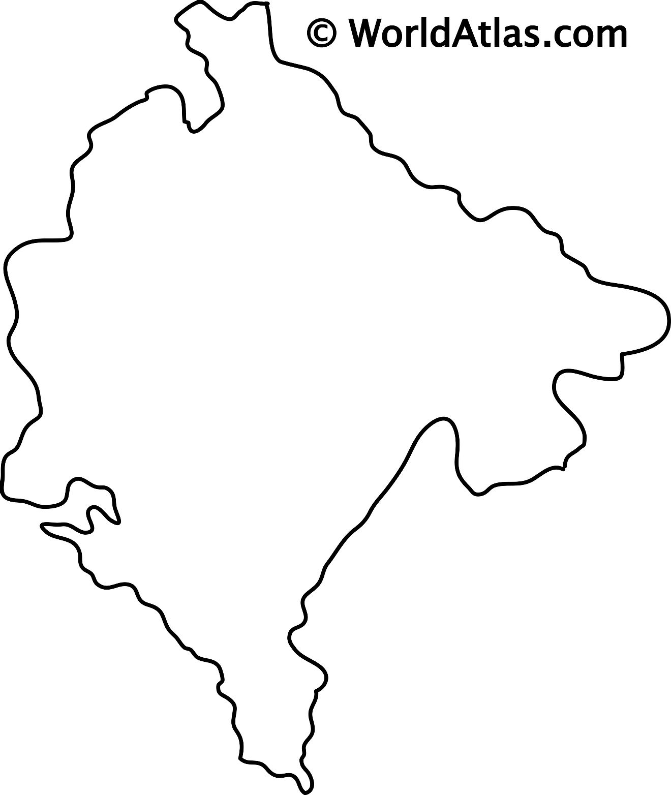 Blank Outline Map of Montenegro