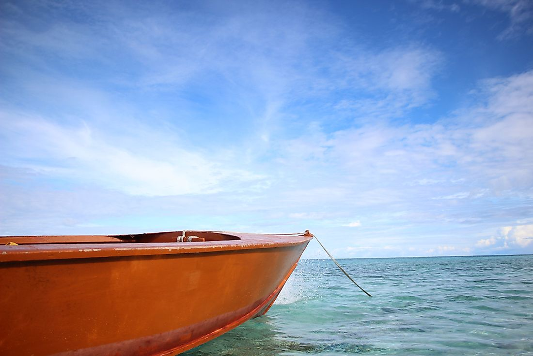 A fishing boat in Tuvalu.