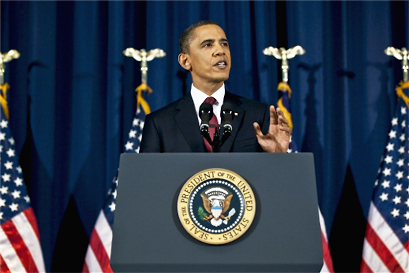 President Barack Obama delivers an address at the National Defense University in Washington, D.C., March 28, 2011. Image credit: www.af.mil