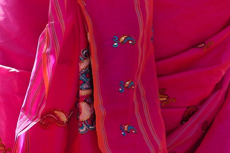A Sari robe produced in Mauritius. Almost 1 in every 3 dollars of value added to the island nation's economy from manufacturing come from textiles.