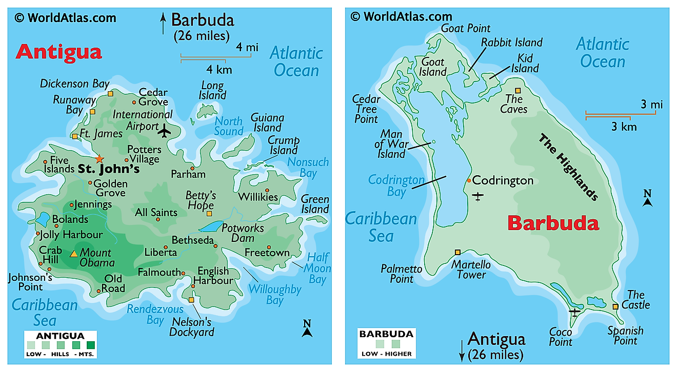 Physical map of Antigua showing the relief, major settlements, islands, bays and sounds, and more.